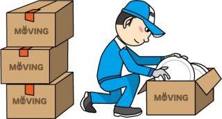 梱包をしている引越し業者作業員のイラスト│引っ越し当日は旧居と新居での作業があります
