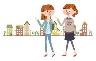 街を歩く女性2人のイラスト│ネットの時代といえども情報収集は自分の足で探すのが基本
